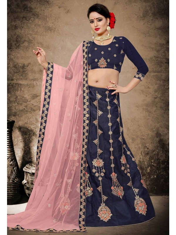 Blue Color Velvet,Satin Fabric Lehenga Choli in Resham,Zari,Stone Work