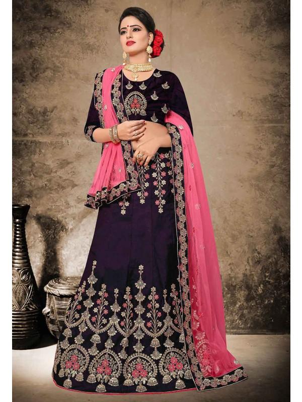 Beautiful Magenta Color Velvet,Satin Fabric Designer Lehenga Choli