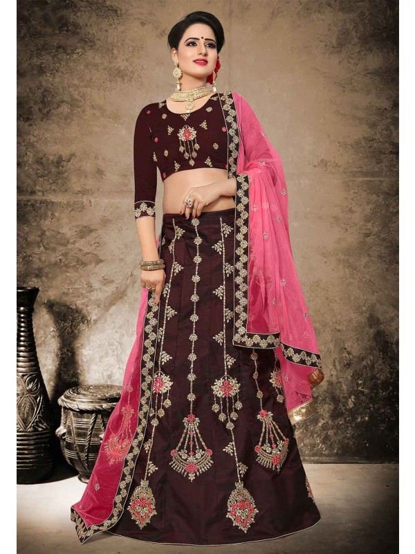 Velvet,Satin Lehenga Choli in Brown Color