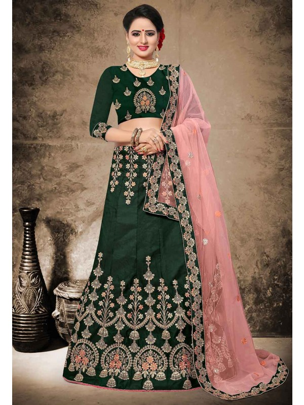 Green Color Velvet,Satin Fabric Lehenga Choli in Resham,Zari,Stone Work