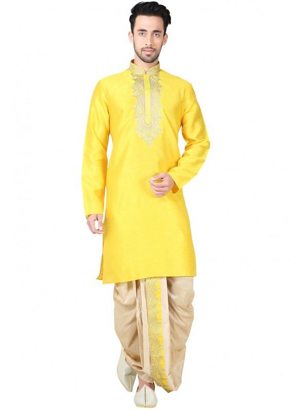 Exquisite Boy's White Color Cotton Silk Readymade Dhoti Kurta
