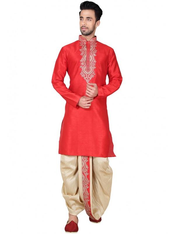 Exquisite Collar Neck Cotton Silk Readymade Dhoti Kurta Set For Boys