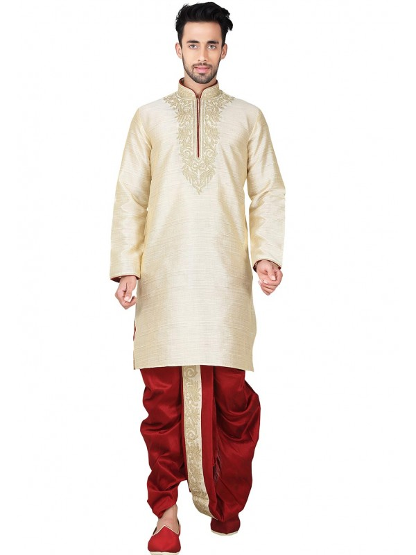 Exquisite Brown Color Cotton Silk Ready made Dhoti Kurta Set