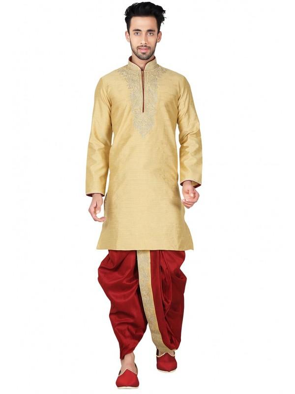 Exquisite Band Collar Cotton Silk Readymade Dhoti Kurta Set For Boys