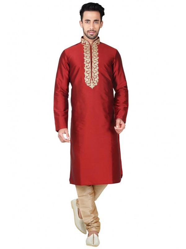 Exquisite Black Color with Thread Readymade Kurta Set For Boys