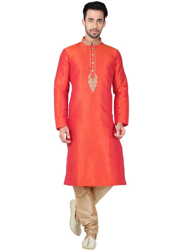 Exquisite Boy's Brown Color with Thread Readymade Kurta Set