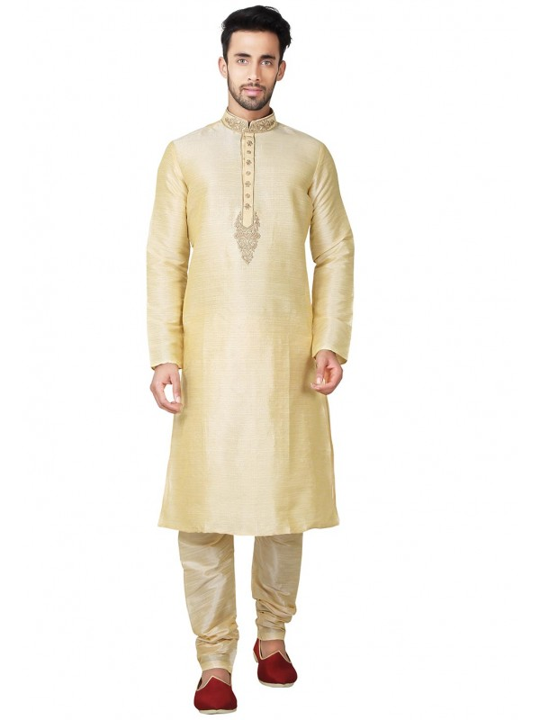 Men's Exquisite Golden Color Banglori Silk Indian Designer Kurta Pyjama With Embroidery Work.