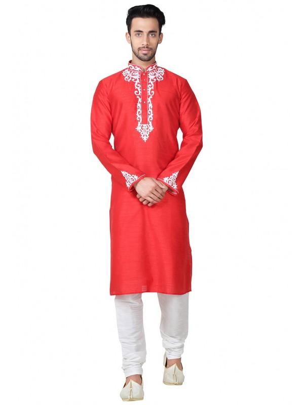 Men's Red Color Banglori Silk Fabric Readymade Kurta Pajama.