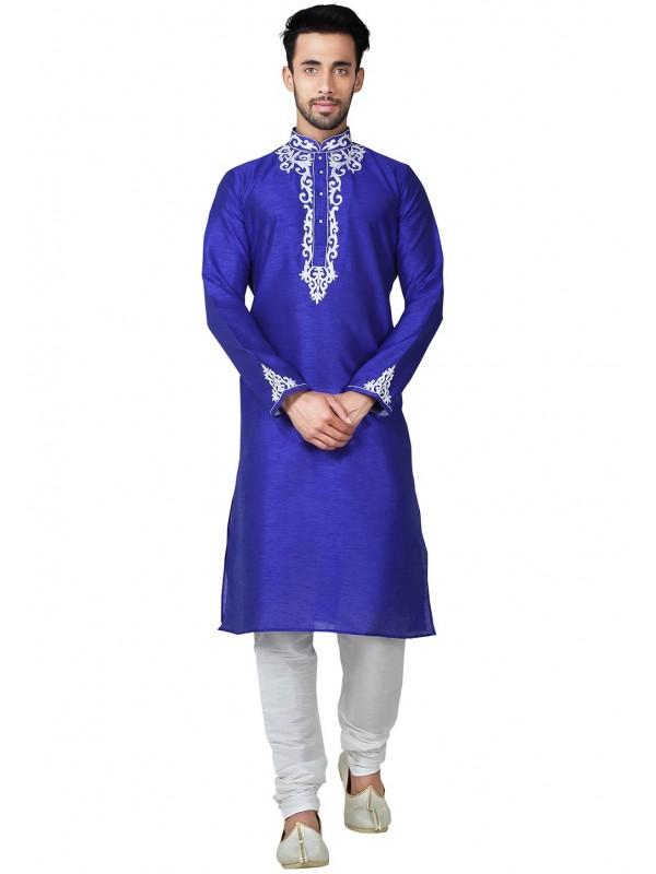 Blue Color Banglori Silk Readymade Kurta Pyjama With Embroidery Work