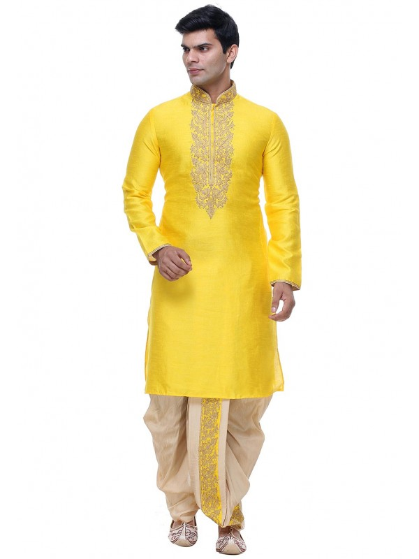 Yellow Color Silk Indian Designer Kurta Pajama.