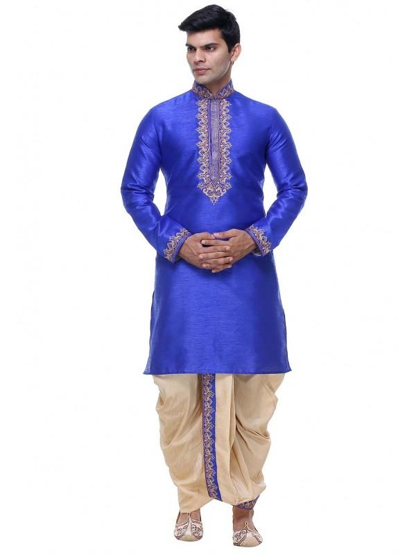 Blue Color Silk Dhoti Kurta Pajama.