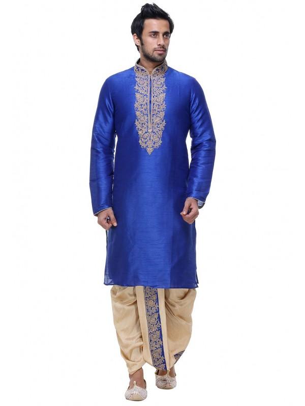 Blue Color Silk Designer Dhoti Kurta Pajama.