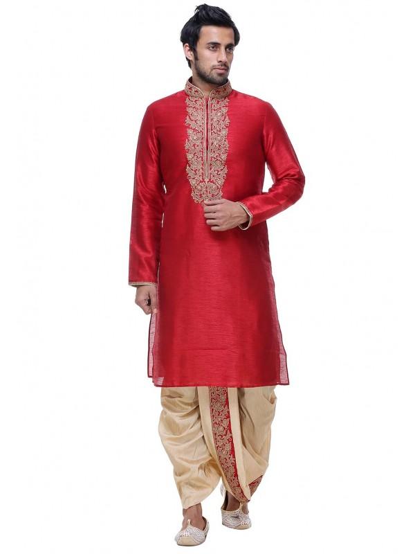 Maroon Color Silk Indian Wedding Kurta Pajama.