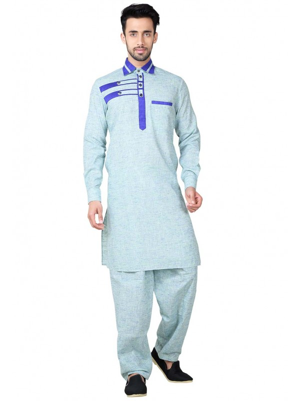 Blue Color Cotton Fabric Pathani Kurta Pyjama.