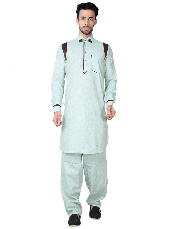 Pathani Kurta Pyjama Blue Color