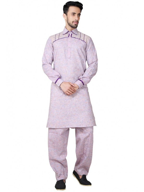 Exquisite Purple Color Cotton Kurta Pajama.
