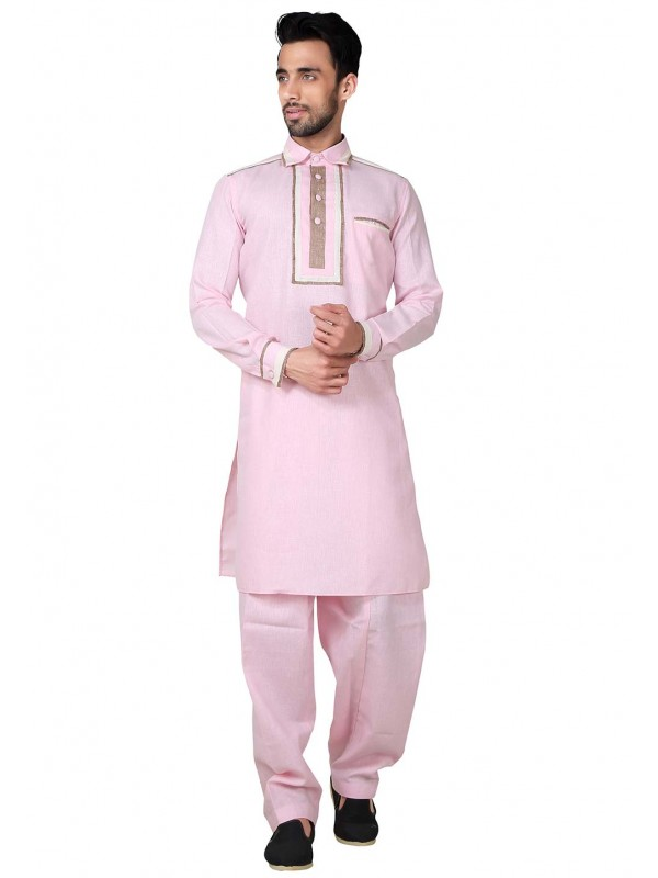 Pink Color Cotton,Linen Fabric Pathani Kurta Pajama.