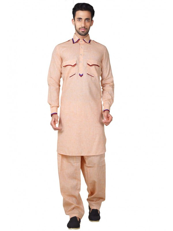 Orange Color Readymade Pathani Kurta Pajama.