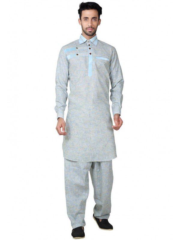 Grey Color Readymade Kurta Pajama.