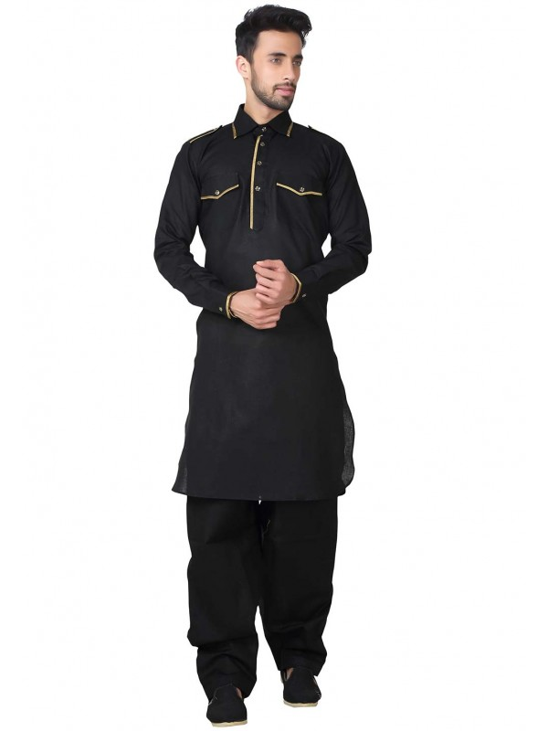 Exquisite Black Color Pathani Kurta Pajama.