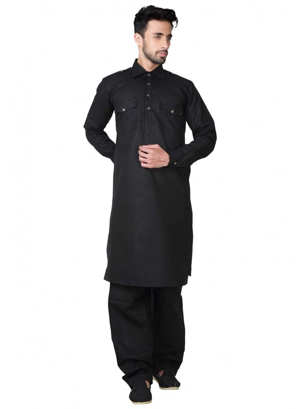 Black Color Cotton,Linen Fabric Pathani Kurta Pyjama.