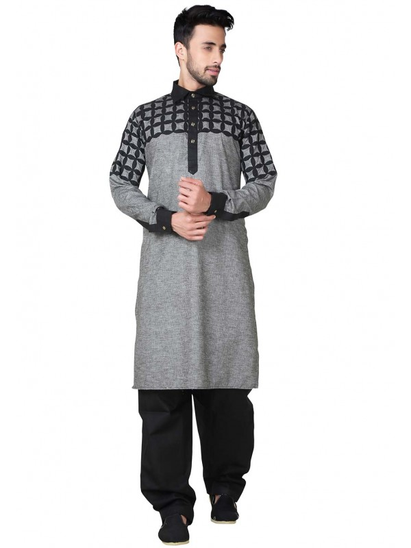 Black,Grey Color Readymade Pathani Kurta Pyjama.
