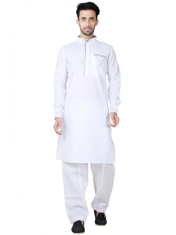 Exquisite White Color Cotton,Linen Readymade Kurta Pajama.