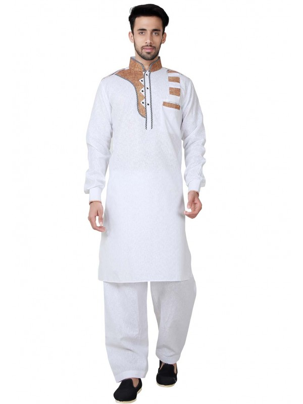 White Color Cotton,Linen Readymade Kurta Pajama.