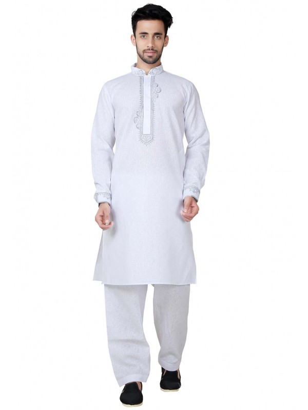 White Color Cotton Kurta Pajama.