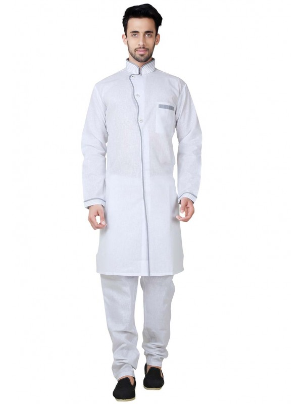 White Color Cotton,Linen Fabric Plain Pathani Kurta Pyjama.