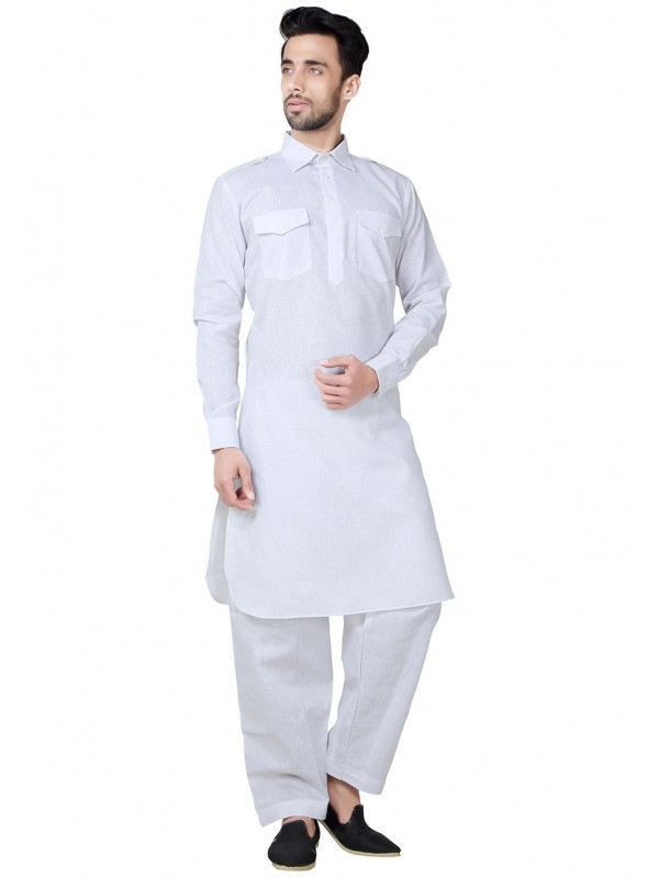 White Color Readymade Kurta Pajama