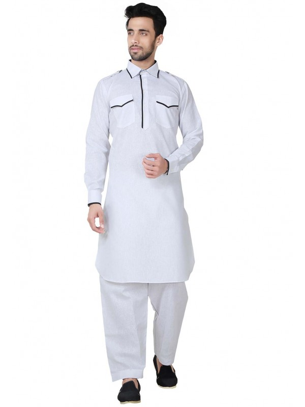 Pathani Kurta Pyjama White Color