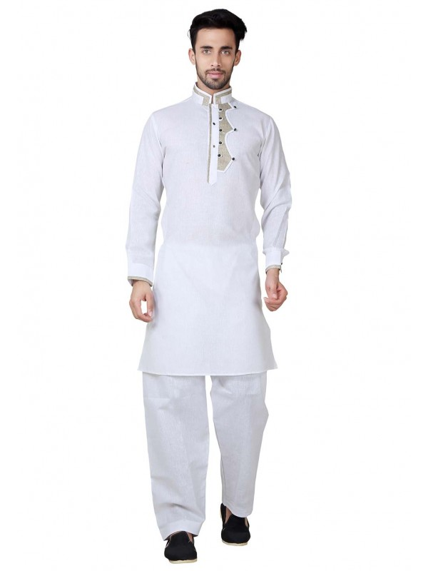 Exquisite White Color Pathani Kurta Pyjama.