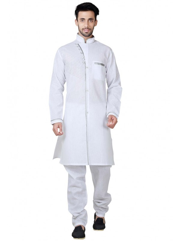 Exquisite White Color Cotton,Linen Fabric Pathani Kurta Pyjama.