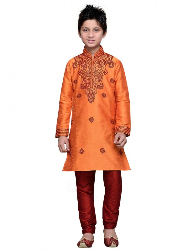 Exquisite Orange Color Cotton Boy's Readymade Kurta Pajama.