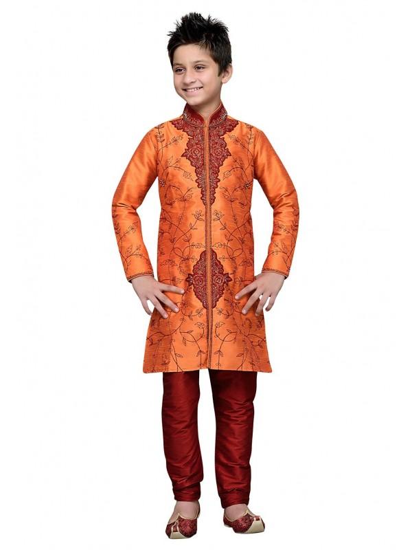 Orange Color Cotton,Linen Boy's Kurta Pajama.