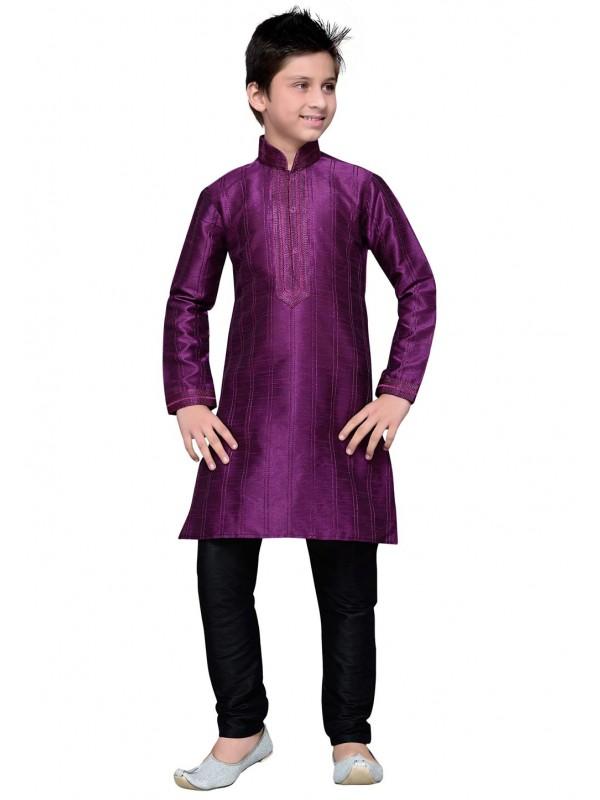 Purple Color Cotton Kurta Pajama.