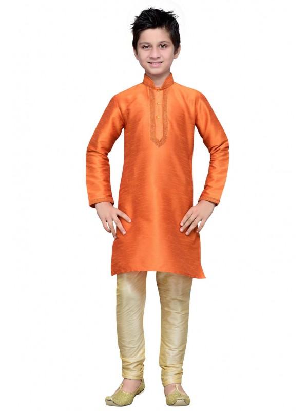 Orange Color Traditional Kurta Pajama.