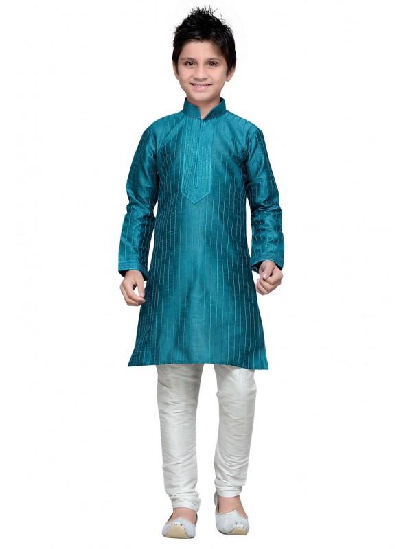 Green Color Boy's Kurta Pajama.