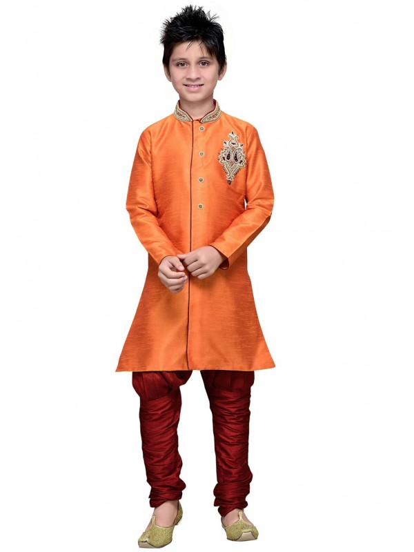 Orange Color Boy's Traditional Kurta Pajama.