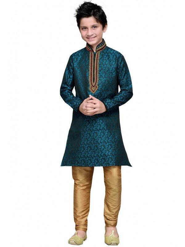 Green Color Boy's Designer Kurta Pajama.