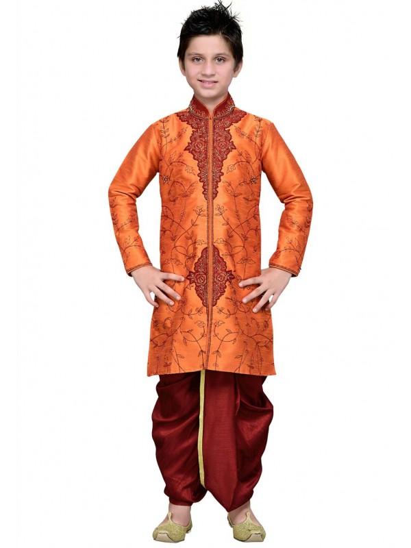 Exquisite Orange Color Boy's Dhoti Kurta.