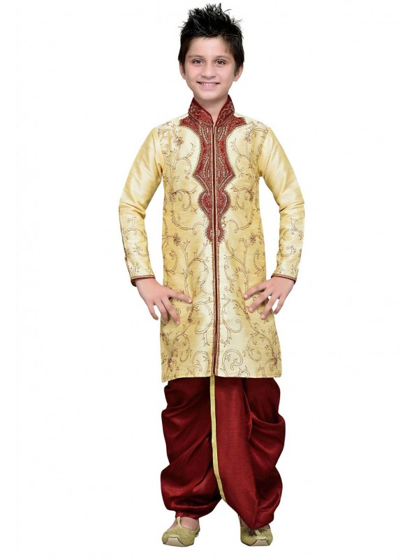 Golden Color Boy's Designer Dhoti Kurta.