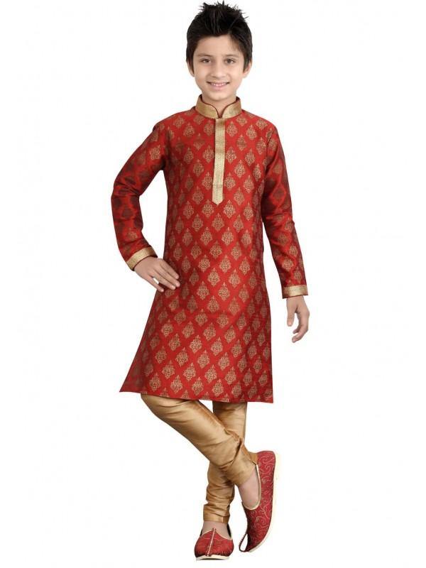 Maroon Color Boy's Designer Kurta Pajama.