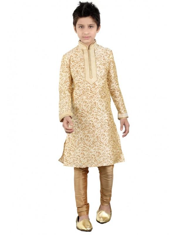 Exquisite Cream Color Cotton Fabric Boy's Kurta Pajama.