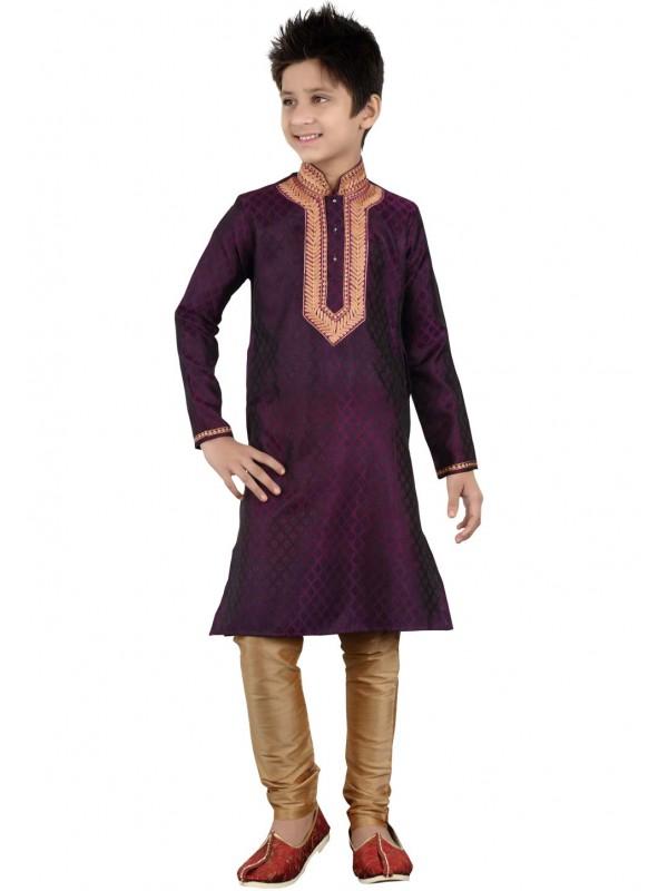 Purple Color Boy's Readymade Kurta Pajama.