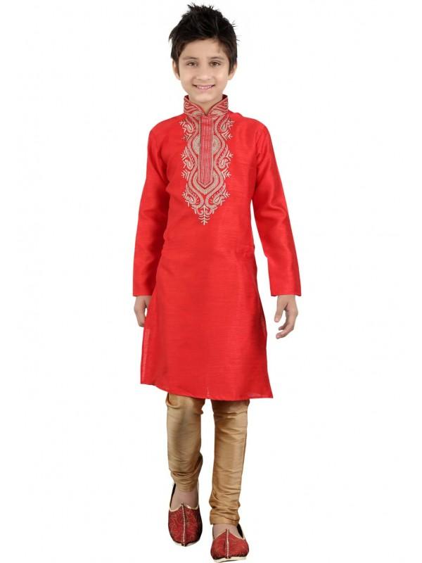 Red Color Cotton Kurta Pajama.