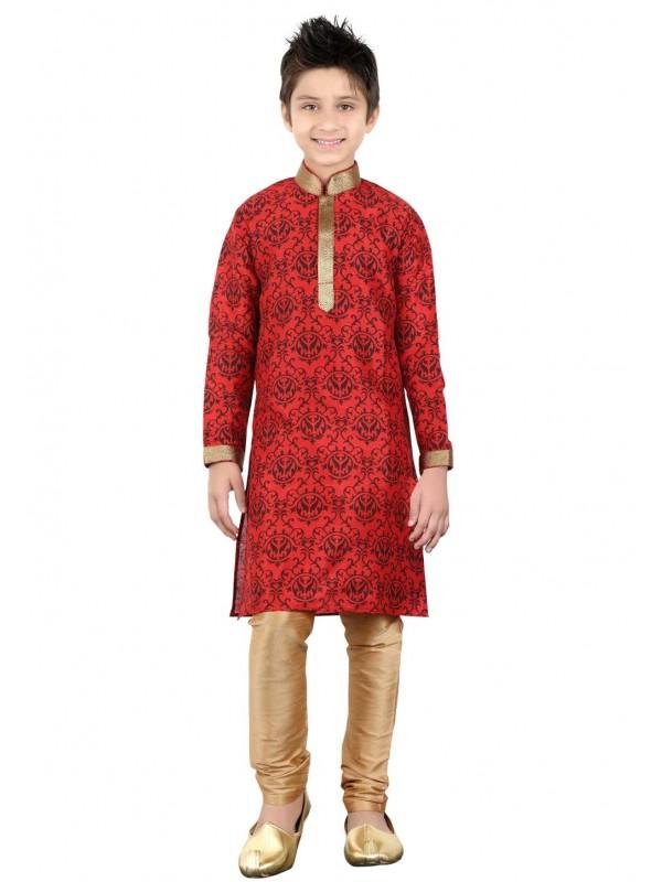 Boy's Red Color Cotton Kurta Pajama.