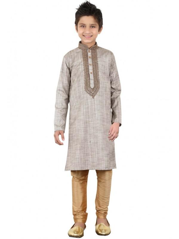 Grey Color Boy's Readymade Kurta Pajama.
