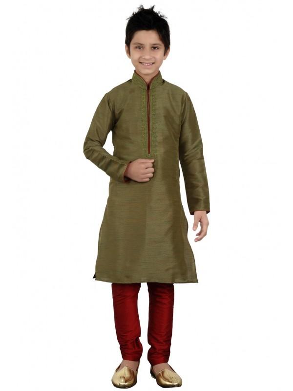 Exquisite Green Color Boy's Readymade Kurta Pajama.